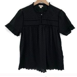 Jcrew Point Sur Ruffle Sleeve Embroidered top